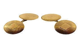 Art Deco 10K Yellow Gold Double-Sided Cufflinks
