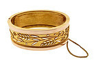 Victorian 14K Gold Cutwork Etruscan Revival Hinged Bangle Bracelet