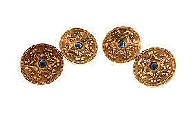 Edwardian Wordley, Allsopp & Bliss 14K Yellow Gold Sapphire Cufflinks