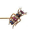 Victorian Patriotic 14K Gold, Diamond, Ruby, Sapphire Insect Stick Pin