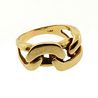 Modernist 14K Yellow Gold Chain Link Ring
