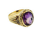 Art Nouveau 10K Yellow Gold & Amethyst Gentleman�s Ring