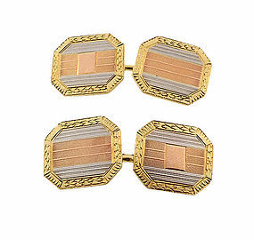 Edwardian 14K Yellow, White & Rose Gold Cufflinks