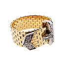 Retro J. E. Caldwell 18K Gold, Platinum, Diamond, Ruby Buckle Ring