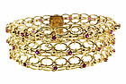 Retro 18K Yellow Gold & Ruby Mesh Bracelet