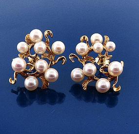 Vintage 14K Gold & Pearl Earrings