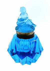 Peacock Blue Pressed & Cut Glass Cherub Inkwell