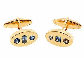 14K Gold & Fancy Colored Sapphire Cufflinks