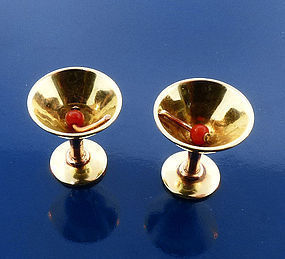 Art Deco 14K Rose & Yellow Gold & Coral Cocktail Glass Cufflinks