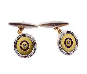 Edwardian 18K Gold, Platinum, Diamond & Ruby Cufflinks