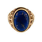 Victorian 10K Yellow Gold & Lapis Lazuli Gentleman�s Ring