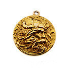Art Nouveau 14K Gold Viking Norse Mythology Locket