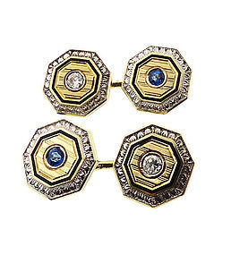 Krementz 14K Gold, Platinum, Enamel, Diamond & Sapphire Cufflinks