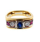 Contemporary 18K Gold, Diamond, Ruby & Sapphire Ring