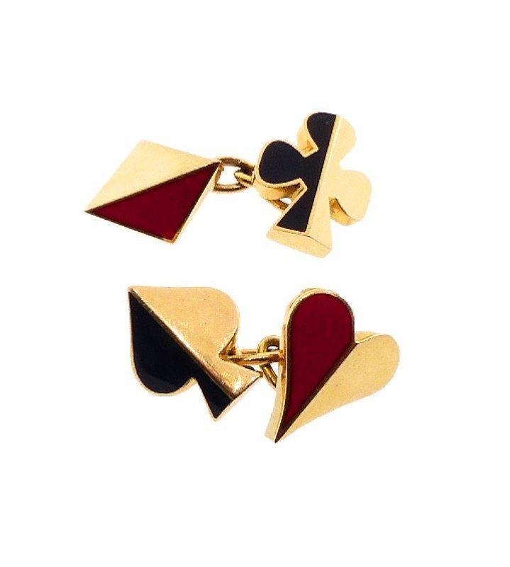 Art Deco Ravinet d�Enfert 18K Gold & Enamel Card Suite Cufflinks