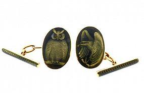 Edwardian 18K Gold Basse-Taille Guilloche Enamel Day & Night Cufflinks