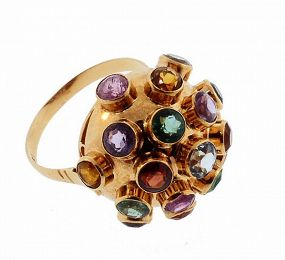 H Stern 18K Gold Multi-Gemstone Sputnik Ring