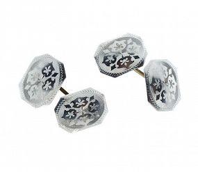 Edwardian Platinum & 14K Gold Double-Sided Cufflinks