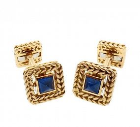 Van Cleef & Arpels Georges Lenfant 18K Gold Blue Sapphire Cufflinks