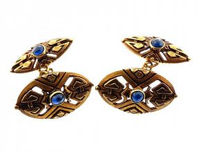 French Aesthetic Period 18K Gold & Sapphire Cufflinks