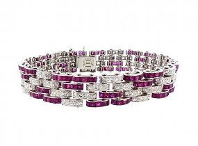 French Art Deco Platinum, 19-Carat Diamond & Ruby Bracelet