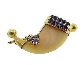 18K Gold & Sapphire Tiger Claw Brooch