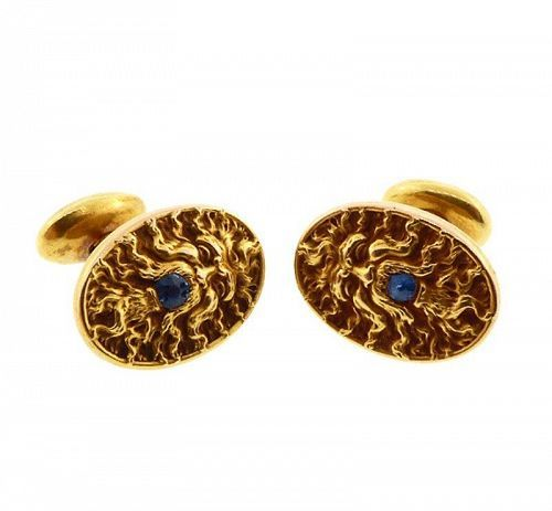 Larter Art Nouveau 14K Gold & Sapphire Mythological Poseidon Cufflinks