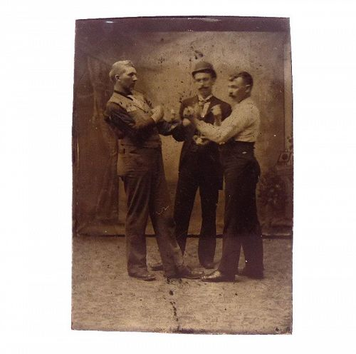 1880�s Men Boxing Tintype Photograph