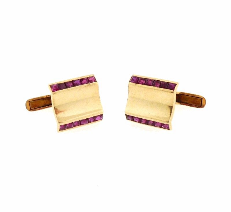 Retro 14K Gold & Ruby Cufflinks