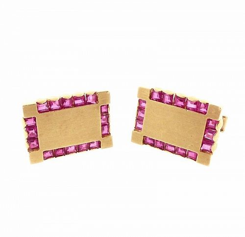 Vintage 14K Yellow Gold & Ruby Cufflinks