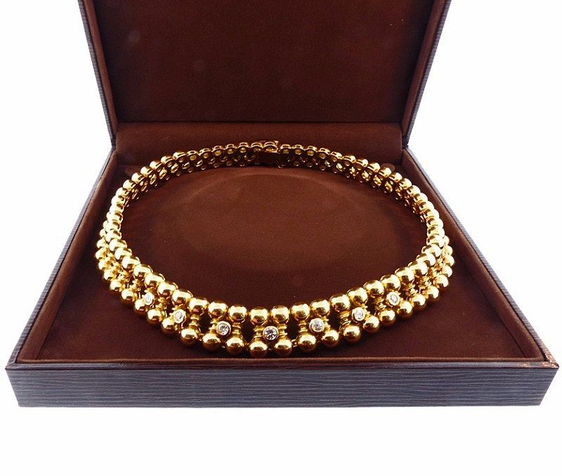 French Retro 18K Gold & Diamond Necklace