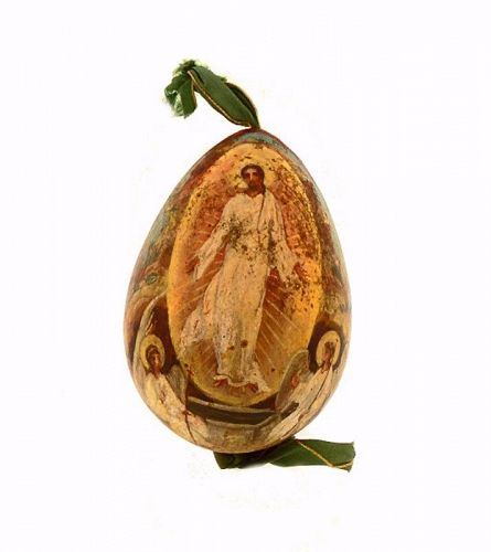 Imperial Russian Polychrome Resurrection Wooden Easter Egg