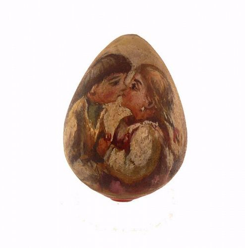 Imperial Russian Polychrome Kissing Couple Wooden Easter Egg