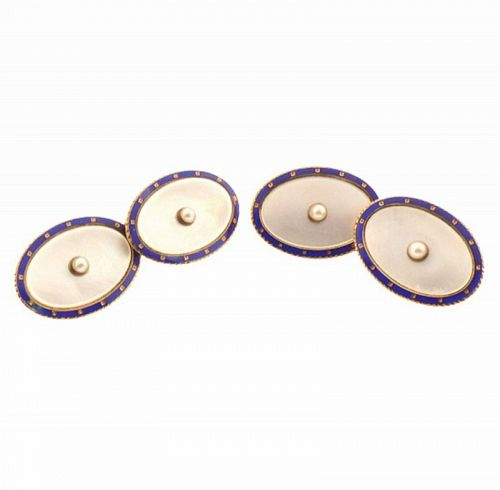 Carter Gough 14K Gold Enamel Mother-of-Pearl Pearl Cufflinks