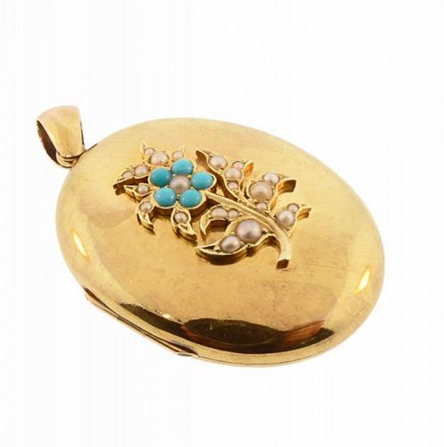 Victorian 15K Yellow Gold, Pearl & Persian Turquoise Locket