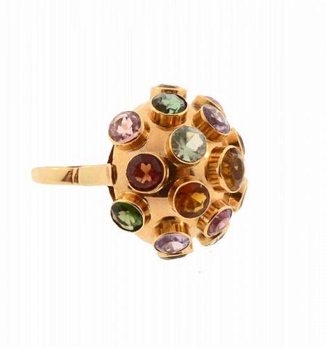 H Stern 18K Gold Multi-Gemstone Sputnik Ring