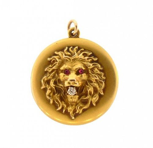 Victorian 14K Gold, Diamond & Ruby Lion�s Head Locket
