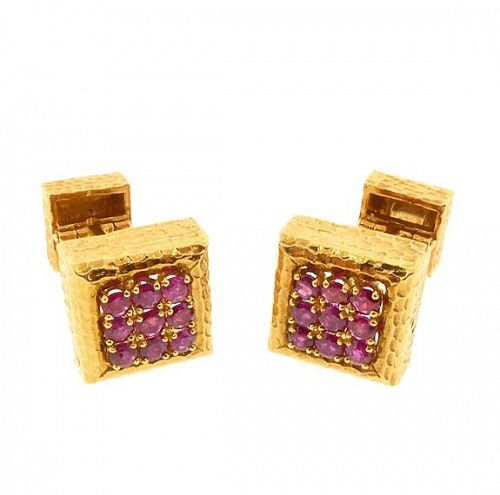 David Webb 18K Yellow Gold & Ruby Cufflinks