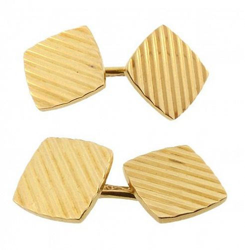 Tiffany Art Deco 14K Yellow Gold Double-Sided Cufflinks