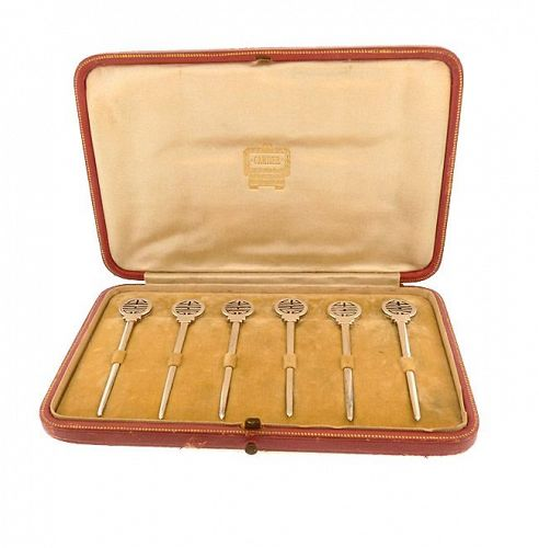 Cartier Art Deco Silverplate Cocktail Pick, Marker Champagne Whisk Set