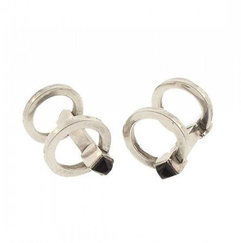 Art Deco Sterling Silver & Onyx Stirrup Cufflinks
