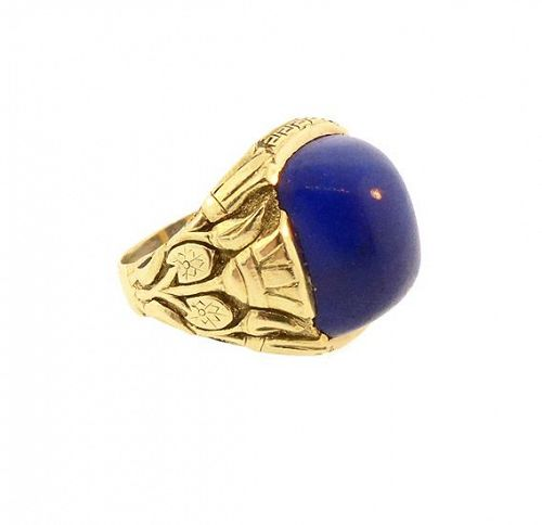 Art Deco Egyptian Revival 14K Gold & Lapis Ring