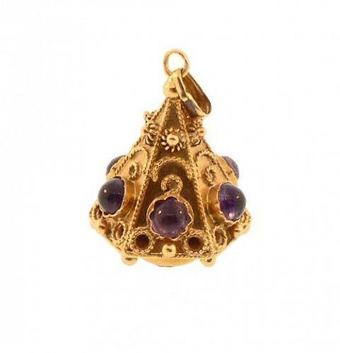 Venetian Etruscan 18K Gold & Amethyst Fob Charm Pendant