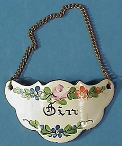 """Gin"" Enameled Bottle/Decanter Tag"
