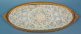 Gilt Bronze & Lace Dresser Tray