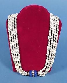Art Deco Lapis, Paste & Seed Bead Necklace