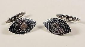 Nouveau Sterling Gold Niello Spider Cufflinks