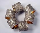 6 Victorian Silverplated Cherub Napkin Rings