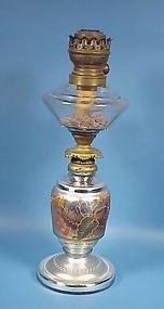 19th c. Mercury Glass & Flint Glass Oil Lamp