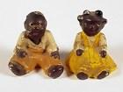 Pair Hubley Black Americana Figural Iron Paperweights